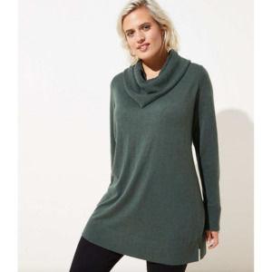 LOFT Plus Green Luxe Knit Cowl Neck Tunic Sweater